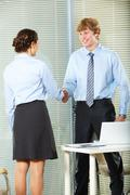 businesswoman and businessman shaking hands in office - stock photo