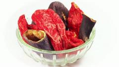 Dried pepper and eggplant plate. Rotating, loop Stock Footage