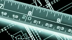 Tape measure against blueprints of industrial design Stock Footage