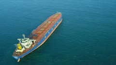 Aerial View of Ocean Freighter Ship Hong Kong  Stock Footage