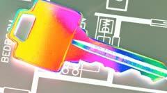Keys against blueprints of industrial design Stock Footage