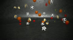 Sport balls bouncing invasion. - stock footage