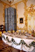 Banquet table in dining-hall Stock Photos