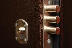 lock with pull out bolts close-up - stock photo