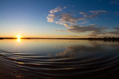 Amazon river sunrise - stock photo