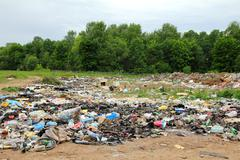 Garbage in landfill near forest Stock Photos