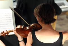 Woman playing on violin in orchestra Stock Photos