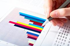 close-up of specialist doing analyze for company - stock photo