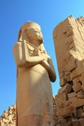 ramses ii - egypt pharaoh in karnak temple - stock photo
