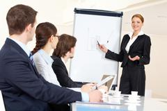 smart and confident employee pointing at whiteboard while presenting her ideas t - stock photo