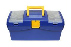 Blue plastic toolbox Stock Photos