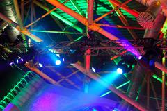 Colored spotlights on ceiling Stock Photos