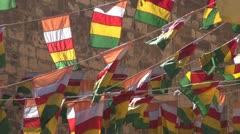 Colorful flags in Jodphur Meherangarh fort , India Stock Footage