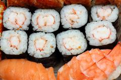 Set of rolls and sushi Stock Photos