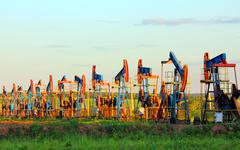 Working oil pumps in row Stock Photos