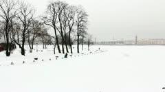 Frozen Neva river and Vasil Speed, St Petersburg, Russia Stock Footage