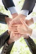 Bottom view of people hands holding together on background of green foliage Stock Photos