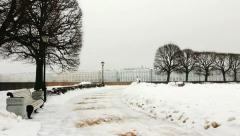 Panoramic of Alley in winter, St Petersburg, Russia Stock Footage