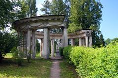 apollo colonnade in pavlovsk park - stock photo