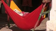 Baby hammock form  cradle in Jodphur, India Stock Footage