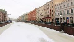 Panoramic of Frozen river Moika in Winter, St Petersburg, Rus Stock Footage