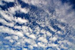 blue sky with fleecy clouds - stock photo