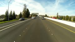 Hwy 101 Southbound Traffic Entering Santa Rosa, CA - High Angle Rearview 4 Stock Footage