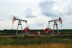 Two oil pump Stock Photos