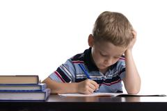 schoolboy does lessons 2 - stock photo