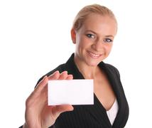 Businesswoman with card 3 Stock Photos