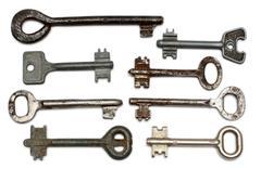eight old rusty keys - stock photo