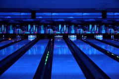 Bowling playing hall Stock Photos