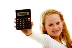 portrait of happy girl with calculator looking at camera isolated on white backg - stock photo