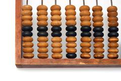 part of old wooden abacus - stock photo