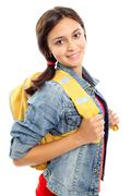 cute girl with backpack smiling at camera in isolation - stock photo