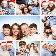 collage of family of four looking at camera and smiling - stock photo