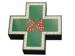 Medical  twenty-four-hour drugstore signboard isolated Stock Photos
