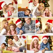 Collage of happy family members at home before christmas Stock Photos