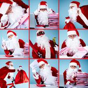 collage of santa claus in front of christmas letters, with sack and skis - stock photo