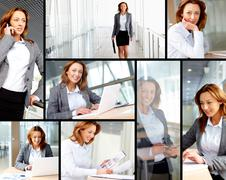 collage of successful businesswoman working in office - stock photo