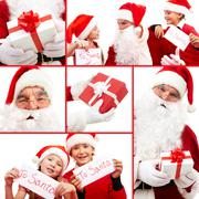 collage of santa with gifts and kids holding christmas letters - stock photo