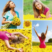 collage made of photos with woman among sunflowers - stock photo