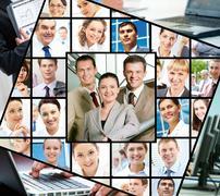 Kollaasi kuvia eri liikemiesten ja teknologia Kuvituskuvat