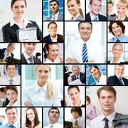 Collage of images with different businesspeople Stock Photos