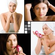 Collage of charming woman with fresh pink rose and after bath Stock Photos