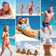 Collage made of images of people on the beach Stock Photos