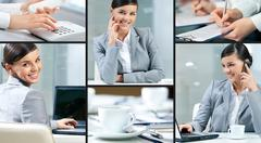 Collage made of images of a pretty businesswoman Stock Photos