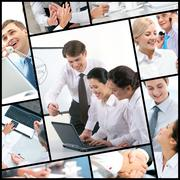 collage made of images of business colleagues - stock photo