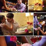 Collage of loving couple at valentine's day Stock Photos