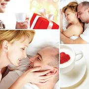 Collage of loving couple with love symbols Stock Photos